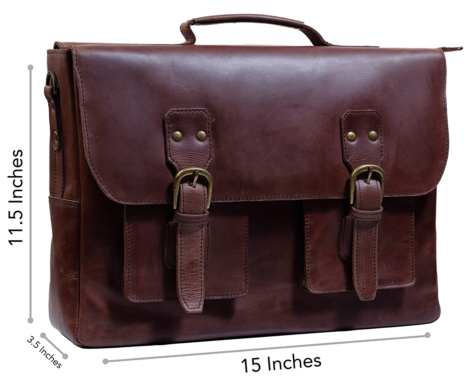 4b97998785d9 Genuine Leather Briefcase/Messenger Laptop Bag for Men: Amazon.in ...