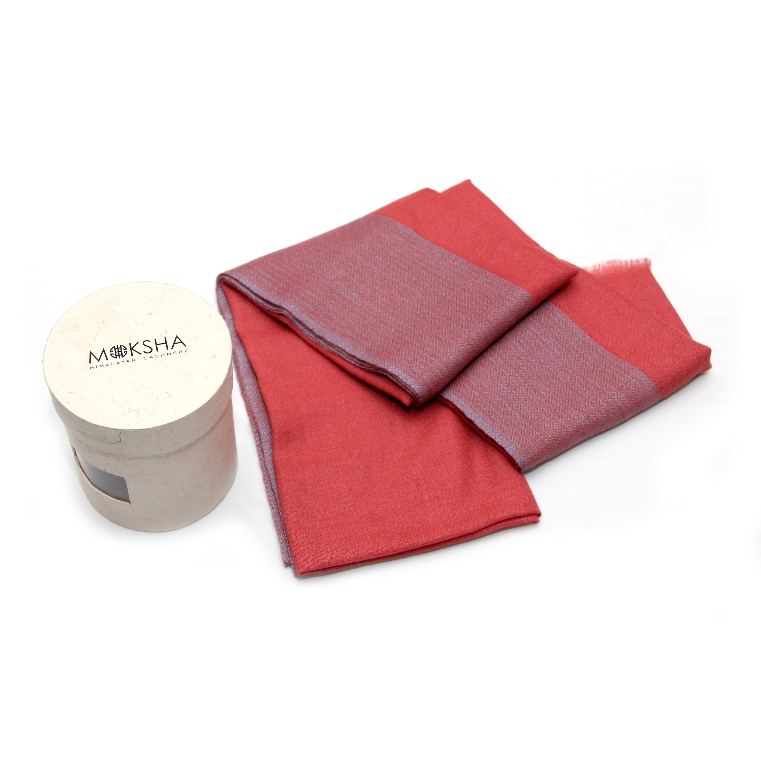 100% Cashmere Stole Lightweight, Diamond-Woven Pattern, Mongolian Cashmere (100/2 Yarn Composition) , Pink © Moksha Cashmere
