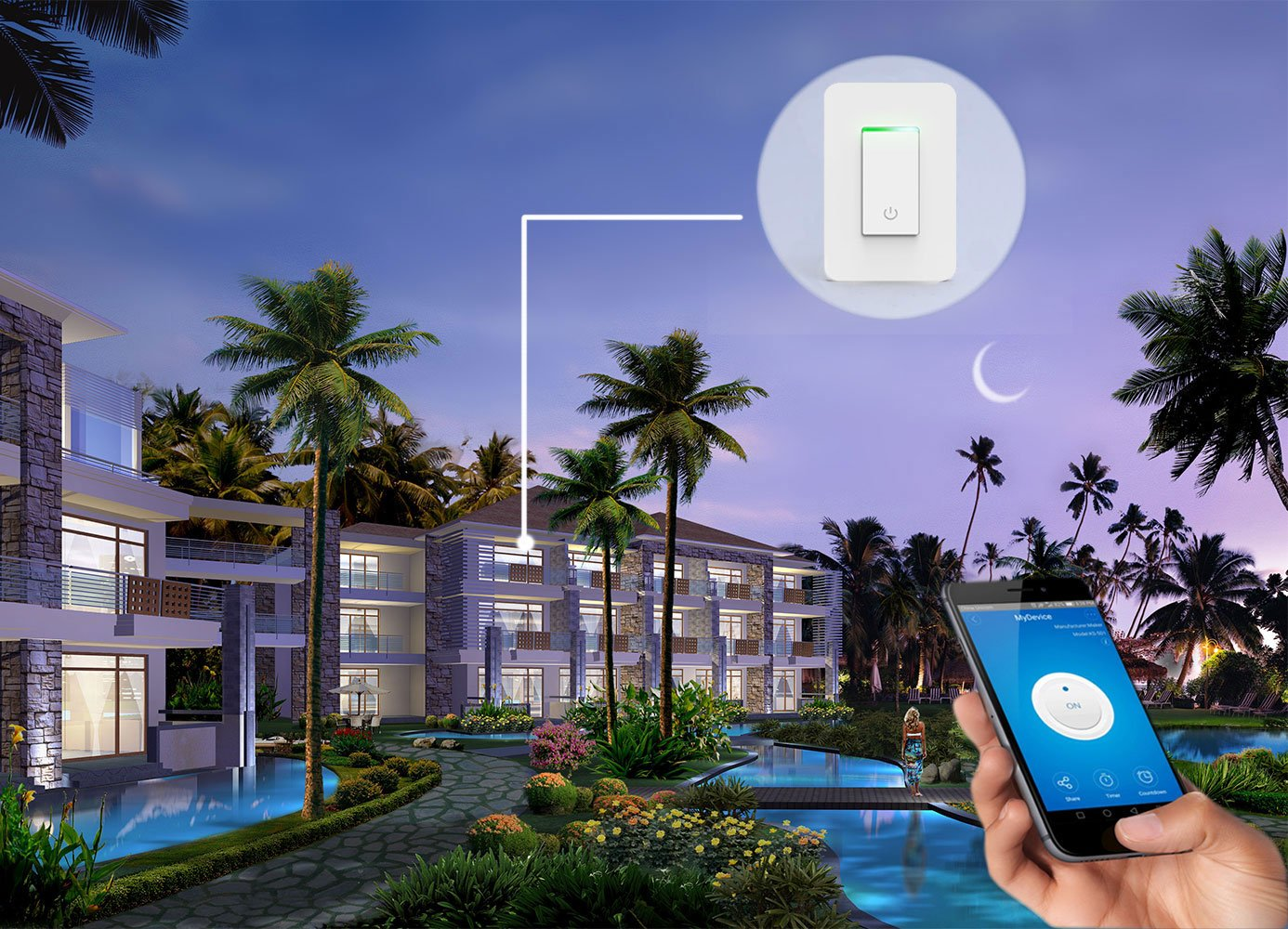 Smart Light Switch, Wi-Fi Switch Wireless Light Switch Compatible with Alexa and Google Home,No Hub Required,Timing Function,Control Your Fixtures From Anywhere (ON/Off Switch-1PCS) by LADUO (Image #5)