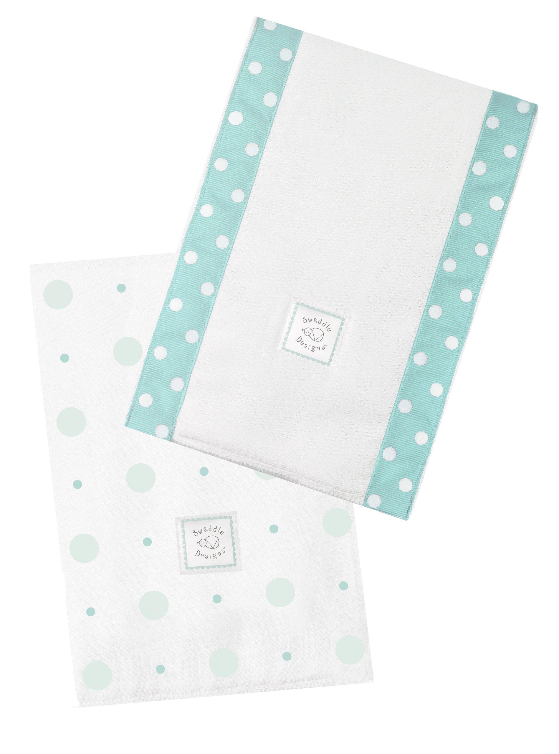 SwaddleDesigns Baby Burpies, Set of 2 Cotton Burp Cloths, SeaCrystal Big Dot Little Dot