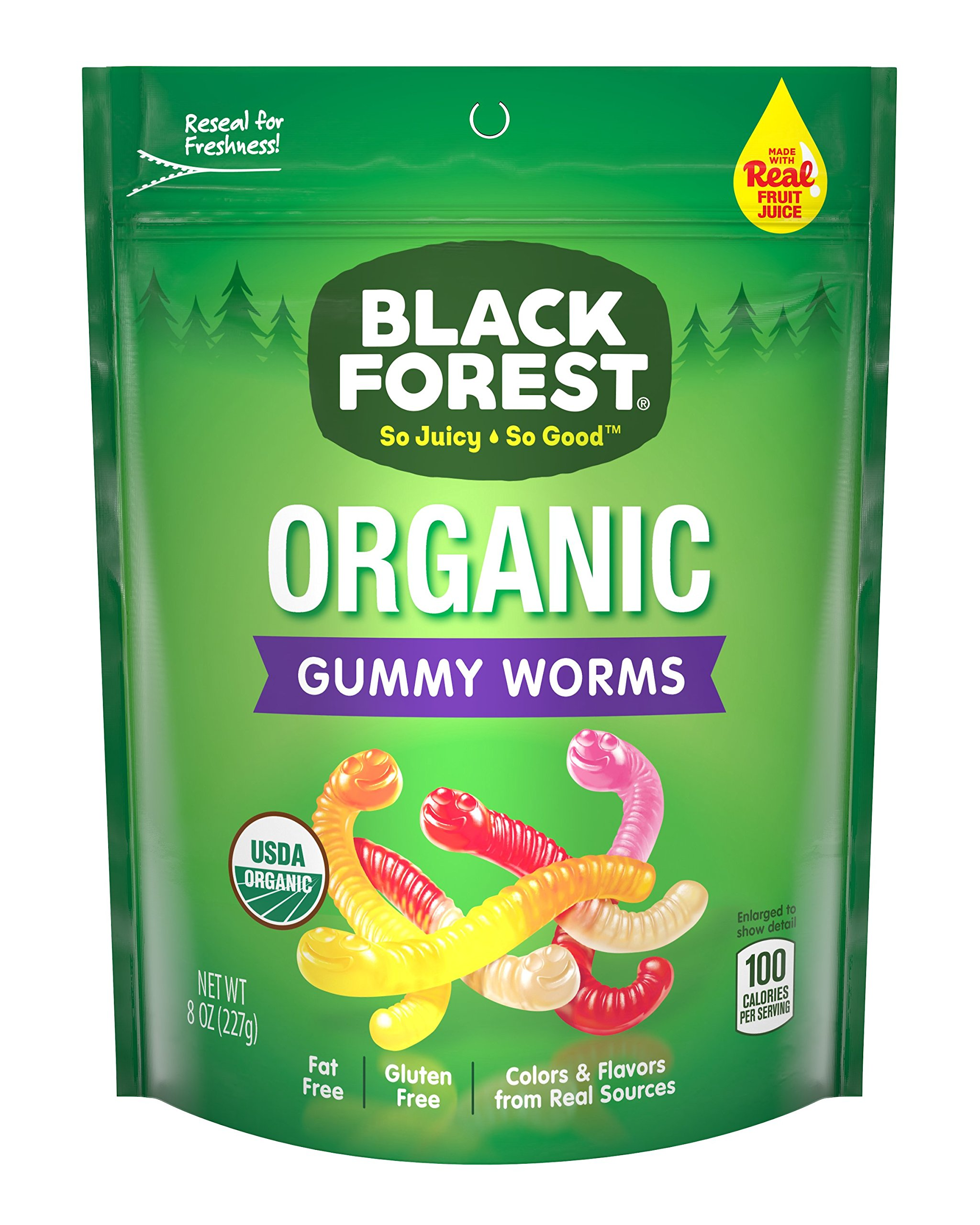 Black Forest Organic Gummy Worms Candy, Cherry, Orange, Pineapple, Lemonand Apple, 8 Ounce (Pack of 6)