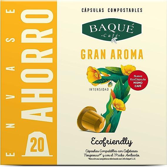 Cafés Baqué - 20 Capsulas Compatibles Nespresso Gran Aroma ...