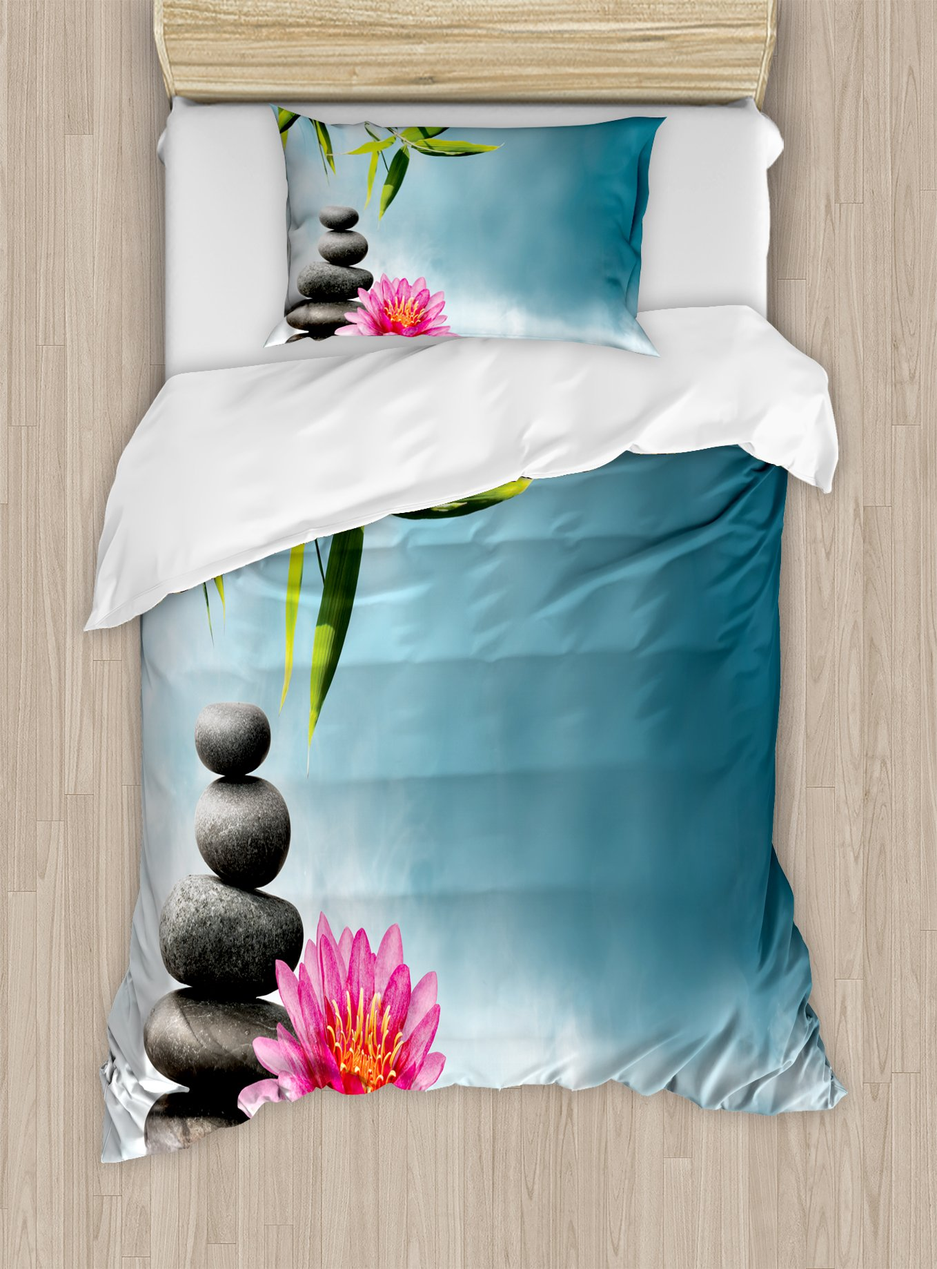 Ambesonne Spa Duvet Cover Set Twin Size, Spa Theme with Lily Lotus Flower and Rocks Yoga Style Purifying Your Soul Theme, Decorative 2 Piece Bedding Set with 1 Pillow Sham, Blue Pink Green