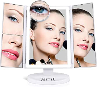 Gettie 2018 Premium Vanity Makeup Mirror with 38 LED Lights – Touch Screen Light Control - 10X/3X/2X Magnification - Battery and USB Powered - High-Definition Clarity Light Up Cosmetic Magnifying Mirror (White)