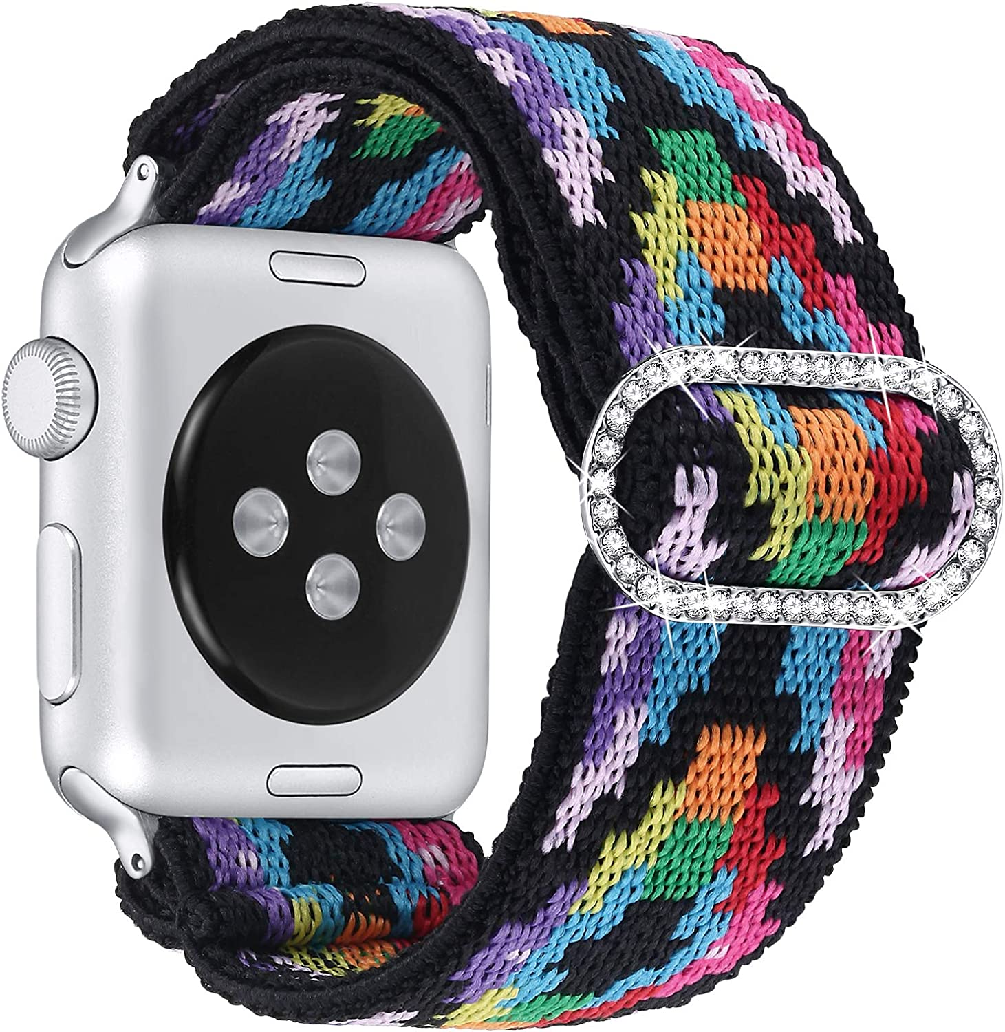 fastgo Compatible with Elastic Apple Watch Band Adjustable 38mm/40mm/42mm/44mm, Stretchy Bracelet Women Strap Replacement Wristband for IWatch SE, Series 6/5/4/3/2/1