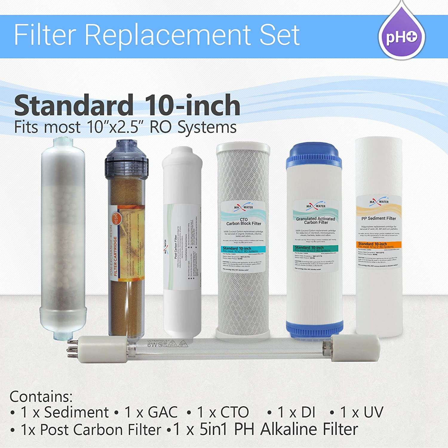12 Stage RO System replacement Filter Set 5 in1 Alkaline DI and 4 Pins UV Bulb
