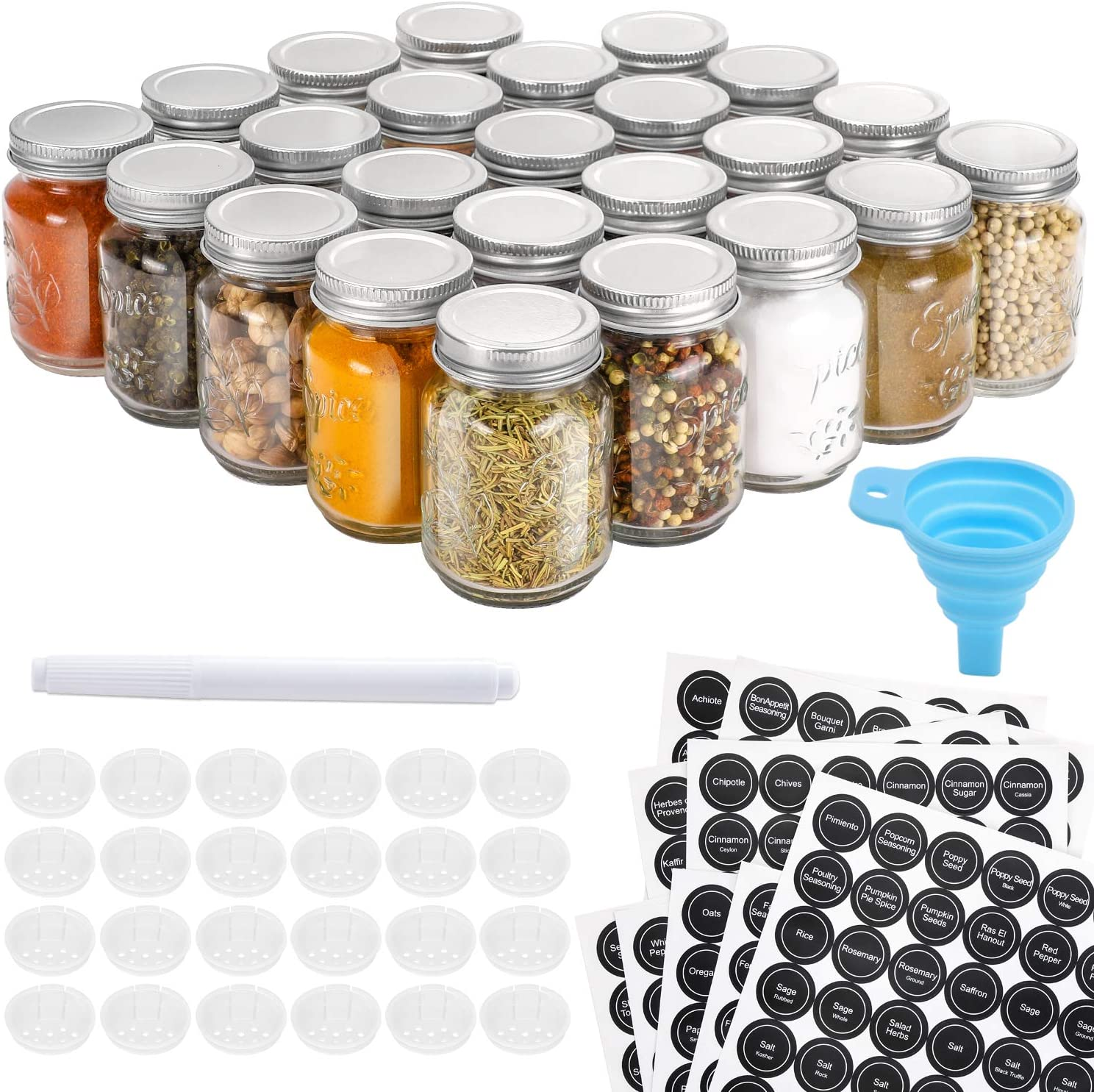Aozita 24 Pcs Glass Mason Spice Jars/Bottles - 4oz Empty Spice Containers with Spice Labels - Shaker Lids and Airtight Metal Caps - Silicone Collapsible Funnel Included