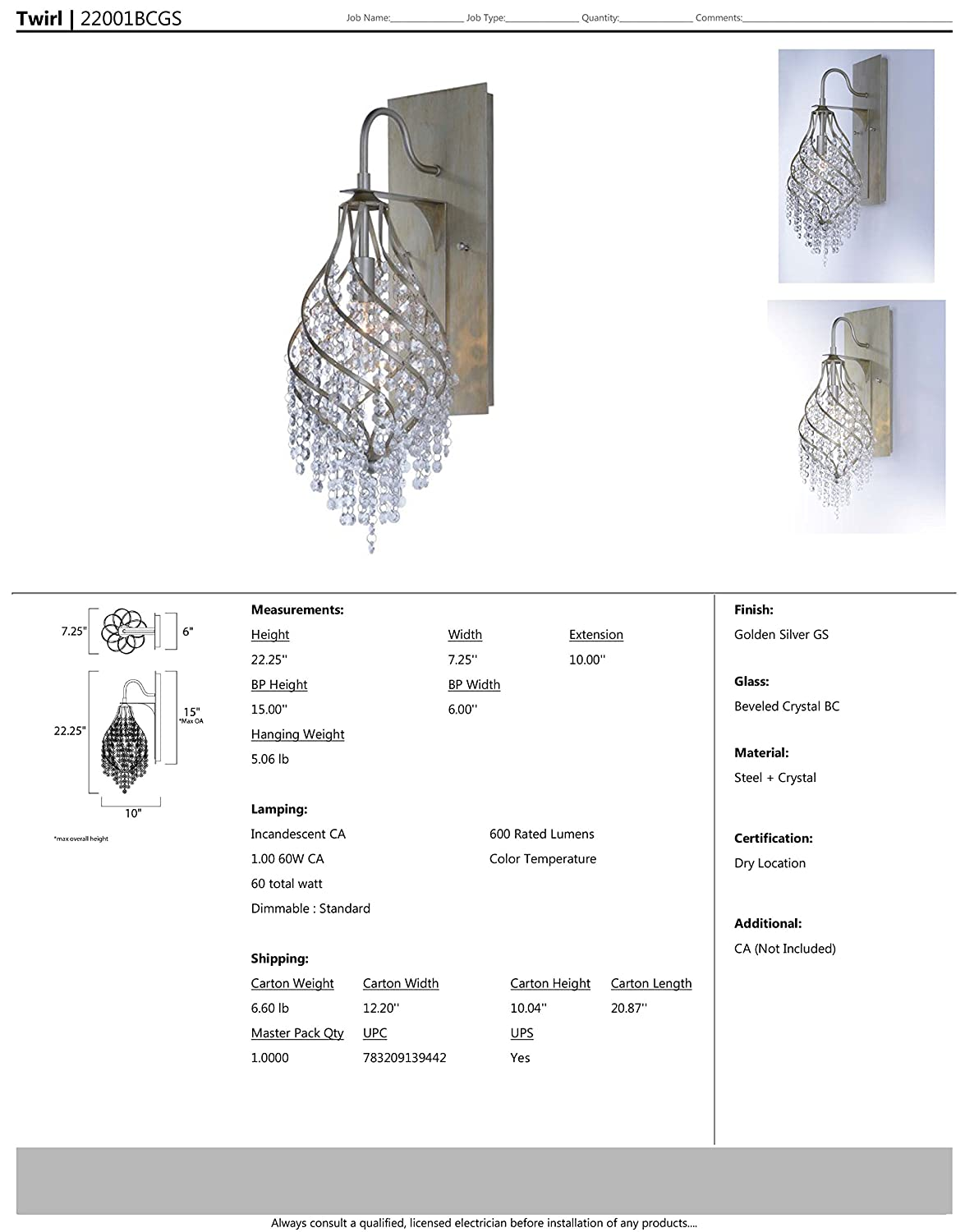 Standard Triac//Lutron or Leviton Dimmable Beveled Crystal Glass Dry Safety Rating 3000K Color Temp CA Incandescent Incandescent Bulb 11W Max. Concrete Shade Material 710 Rated Lumens Maxim 22001BCGS Twirl 1-Light Wall Sconce Golden Silver Finish
