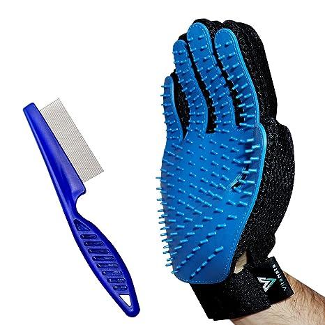 Guante de aseo para mascotas + peine de pulgas de acero inoxidable, cepillo suave de deshedding guante con cepillo de alambre Peine de pulgas - ...