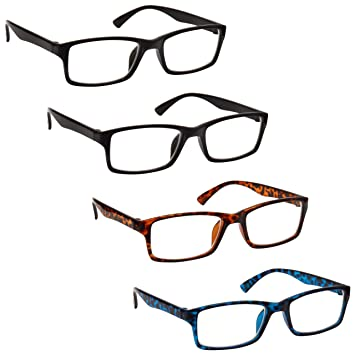 6729863a354 The Reading Glasses Company Black Brown Blue Readers Value 4 Pack Mens  Womens RRRR92-1123