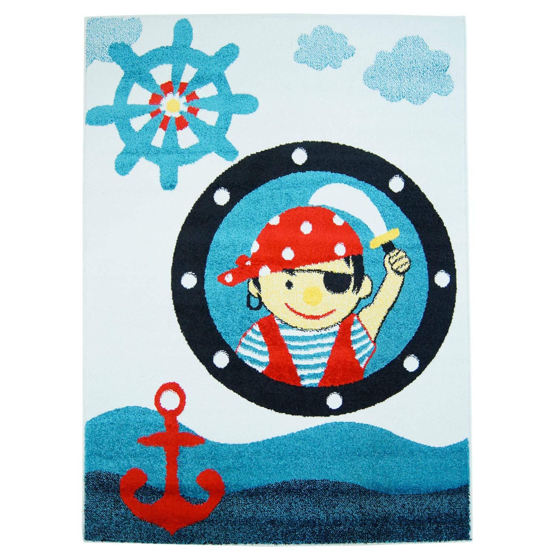 Carpet city Kinder-Teppich mit Piratenmuster - Moda Kids 2030 Blau Größe 190x280 cm