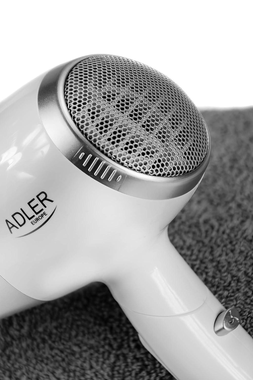 Adler AD2225 - Secador de pelo, 2200 W, color blanco y plateado