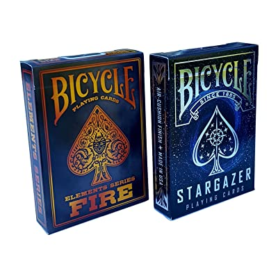 Bicycle Stargazer & Fire Elements Series Playing Cards Bundle, 2 Decks