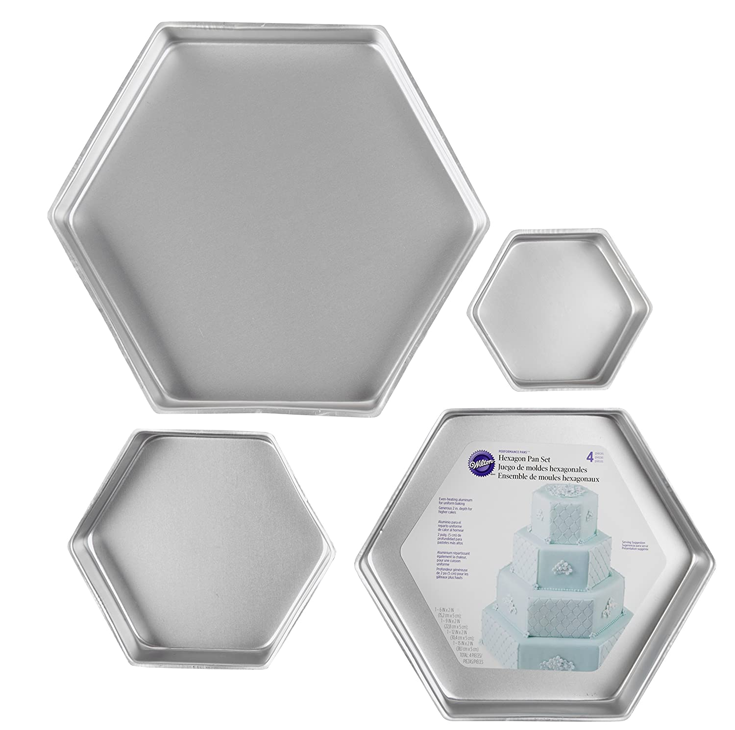 Wilton Performance Pans Hexagon Cake Pan Set, 4-Piece 2105-3572