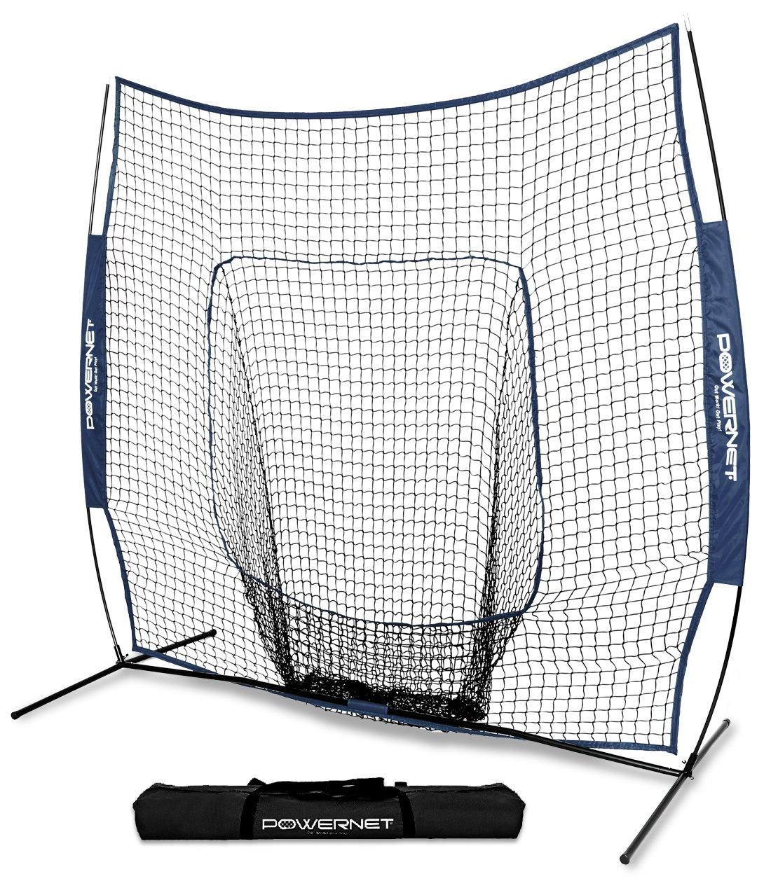 PowerNet Team Color Baseball Softball 7x7 Hitting Net w/Bow Frame (Navy) by PowerNet