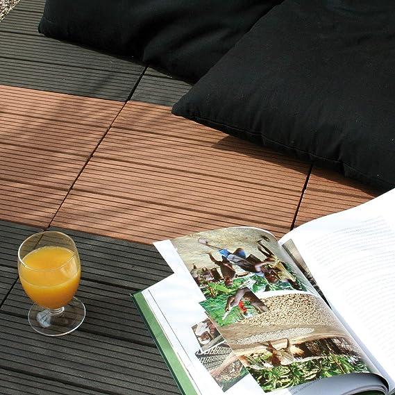 11 St/ück Braun WPC Fliesen mit Klicksystem f/ür den Balkon und Garten 30x30cm 1m/² | Terrassen-fliesen von Nordje/®