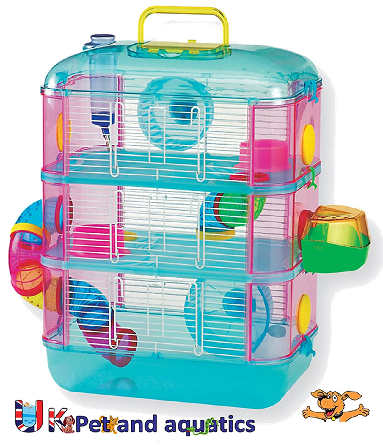 Hamster Cage Three Storey With Tubes 2 Wheels  Food Bowls