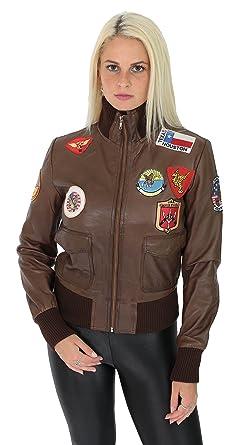 En Bombardière Insigne Force Air Logo Femme Marron De Cuir Veste nn4BIq
