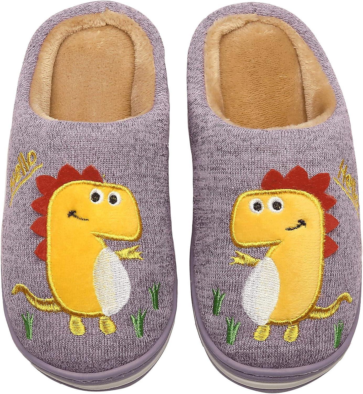INMINPIN Kinder Winter Baumwolle Pantoffeln W/ärme Weiche Pl/üsch Hausschuhe Kuschelige Slipper mit Cartoon Dinosaurier f/ür M/ädchen Jungen