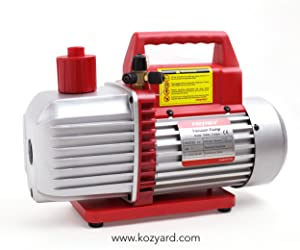 Kozyvacu 8CFM Two-Stage Rotary Vane Professional Vacuum Pump (25 Micron, 3/4HP) for HVAC/Auto AC Refrigerant Recharging, Degassing wine or epoxy, Milking cow or lamb, Medical, Food processing etc.