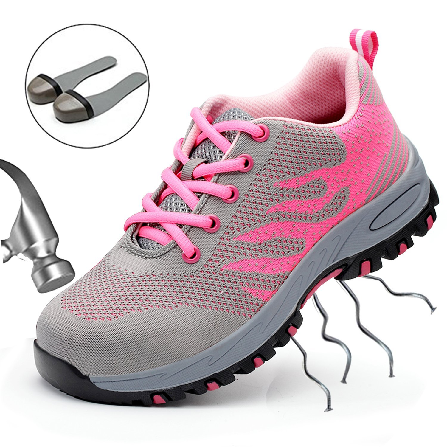 SUADEEX Steel Toe Shoes Men, Work Shoes, Safety Shoes, Steel Toe Boots for Men, Pink-40