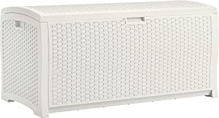 product image for Suncast 99 Gallon Resin Wicker Patio Storage Box - Water Resistant Outdoor Storage Container for Toys, Furniture, Yard Tools - Store Items on Deck, Porch, Backyard - White