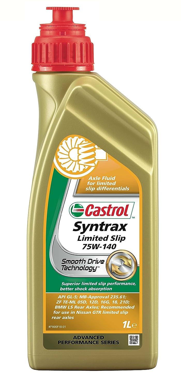 Castrol 18217160 Syntrax - Fluido sinté tico de ejes para diferenciales de deslizamiento limitado (75W-140, 1 l, recomendado para vehí culos de alto rendimiento) recomendado para vehículos de alto rendimiento) Castrol Limited 1543C9