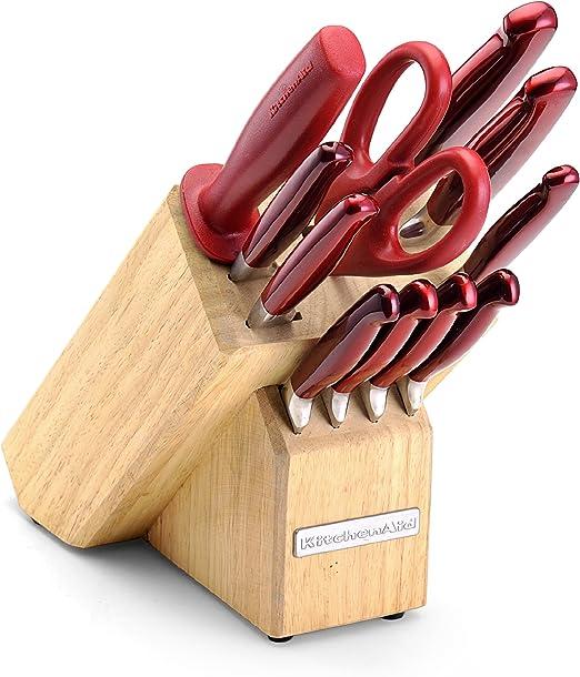 KitchenAid – forjado bloque Juego de cuchillos, Candy Apple rojo: Amazon.es: Hogar