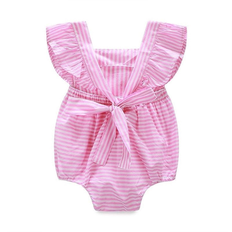 c5fc8942d2 Amazon.com  CH Baby Girls Pink Stripe Little Jumpsuit Romper Playsuit  Toddler Bodysuit  Clothing