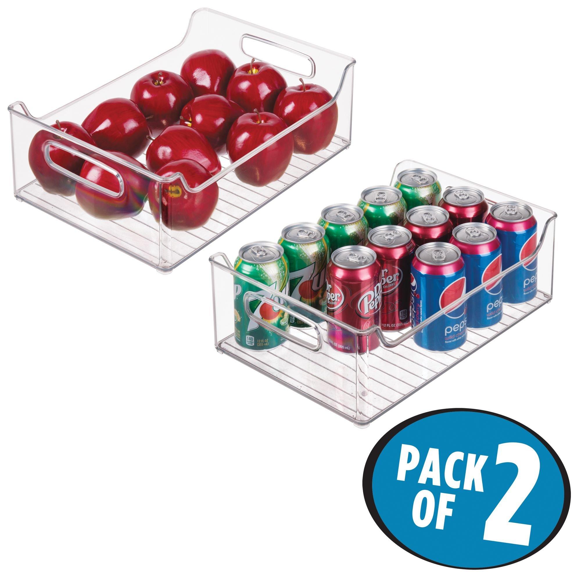 mDesign Plastic Kitchen Pantry Cabinet, Refrigerator or Freezer Food Storage Bins with Handles - Organizer for Fruit, Yogurt, Snacks, Pasta - Food Safe, BPA Free, 14'' Long - 2 Pack, Clear