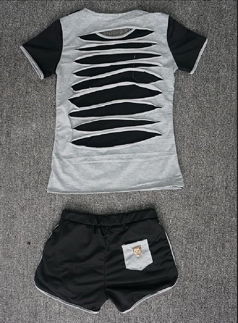 Qiangjinjiu Women Rounded Collar Short Sleeve Splice Collision Color Chest Pocket Two Piece Set Sweatsuit