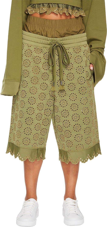 c80d5e7e87e4 PUMA Women s Fenty Embroidered Long Shorts Olive Branch Medium 13 at Amazon Women s  Clothing store