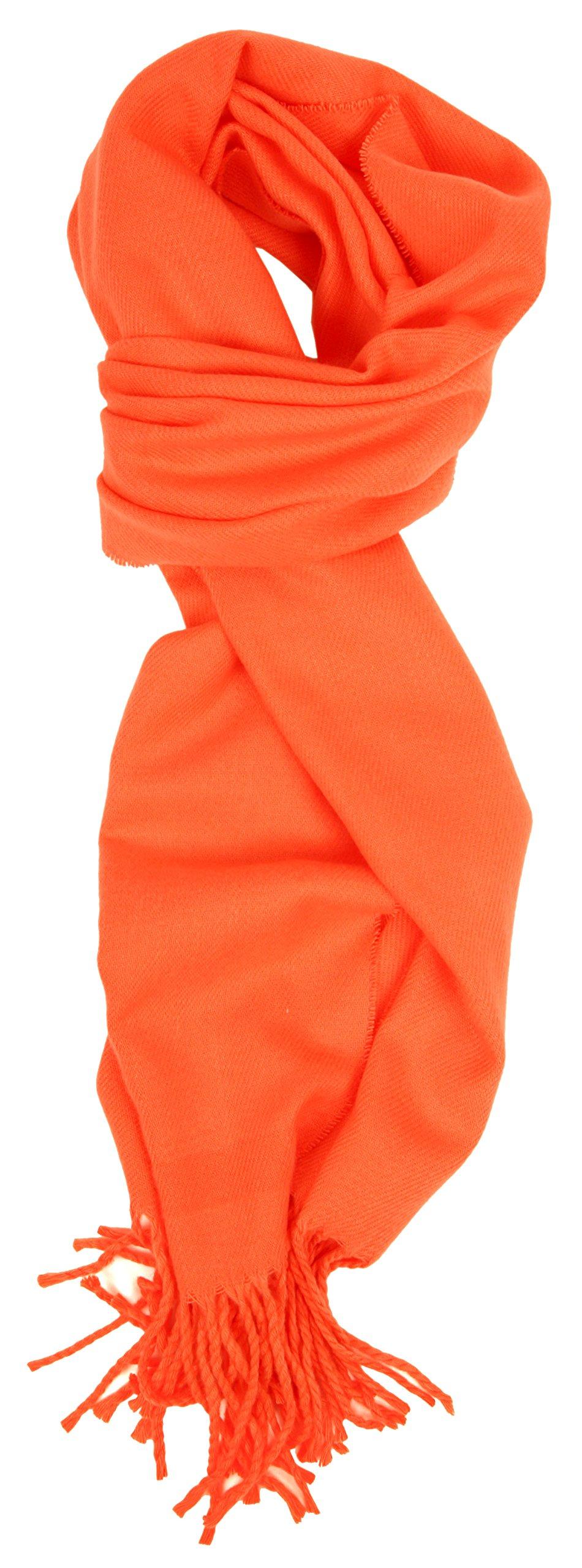 Love Lakeside-Women's Cashmere Feel Winter Solid Color Scarf 0-0 Orange