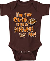 Rookie Wear By Smack Apparel Pittsburgh Hockey Fans 2T-4T or Toddler Tee Im Too Cute to be a Flyers Fan Black Onesie NB-18M