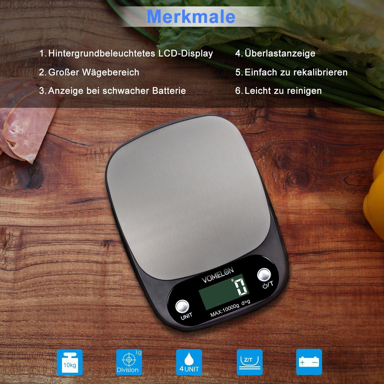 Elektronische Küchenwaage,10kg x 1g, Elektronische Waage mit Größerer Plattform Edelstahloberfläche, Tara-Funktion, Großes LCD-Display