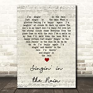 Singin' in The Rain Script Heart Song Lyric Wall Art Poster Gift Present Print