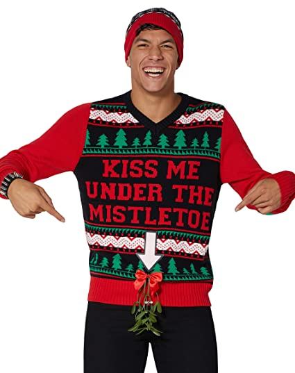 Amazoncom Kiss Me Mistletoe Light Up Ugly Christmas Sweater Clothing