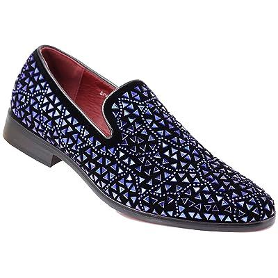 SPK27 Men's Rhinestone Sparkling Suede Dress Shoes Loafer Classic Designer Moccasins | Loafers & Slip-Ons