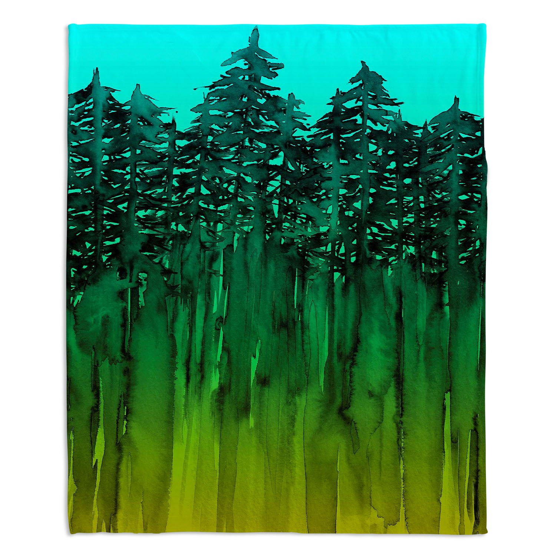 60 x 40 Fleece Blankets Kess InHouse EBI Emporium Forest Through The Trees 9 Purple Black Throw