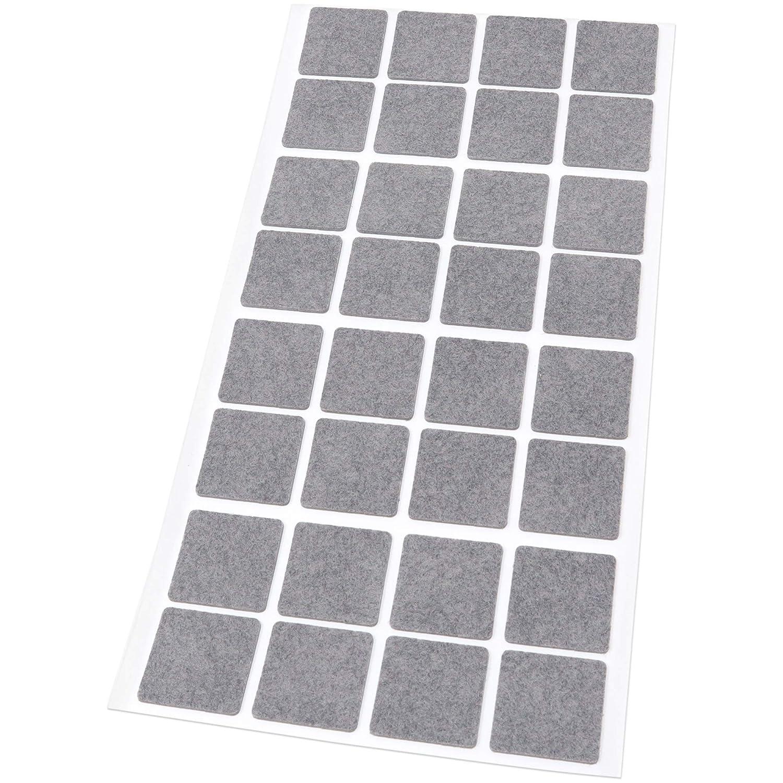 1,5 mm d/épaisseur 25 x 25 mm 32 patins en feutre patins de meubles en feutre adh/ésif de qualit/é sup/érieure. gris carr/é Adsamm/®
