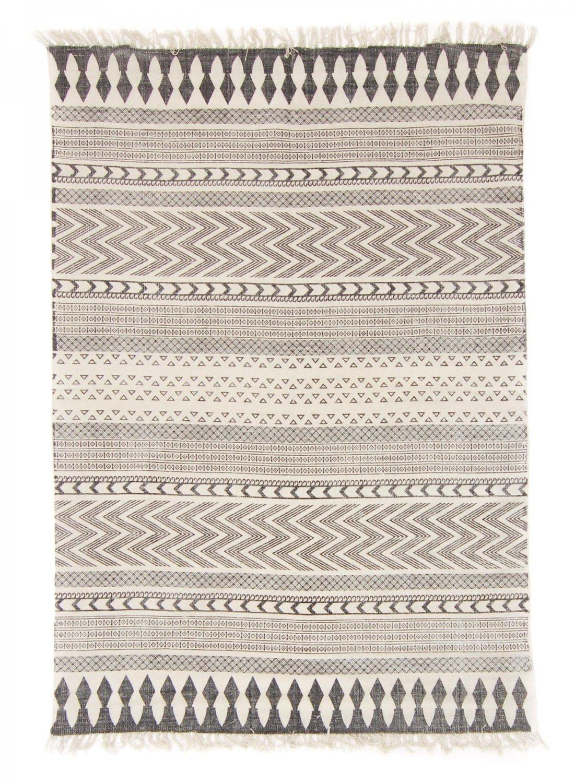 Trendcarpet Teppich 170 x 240 cm (baumwollteppich) - Marrakech (schwarz grau weiß) Größe 170 x 240 cm