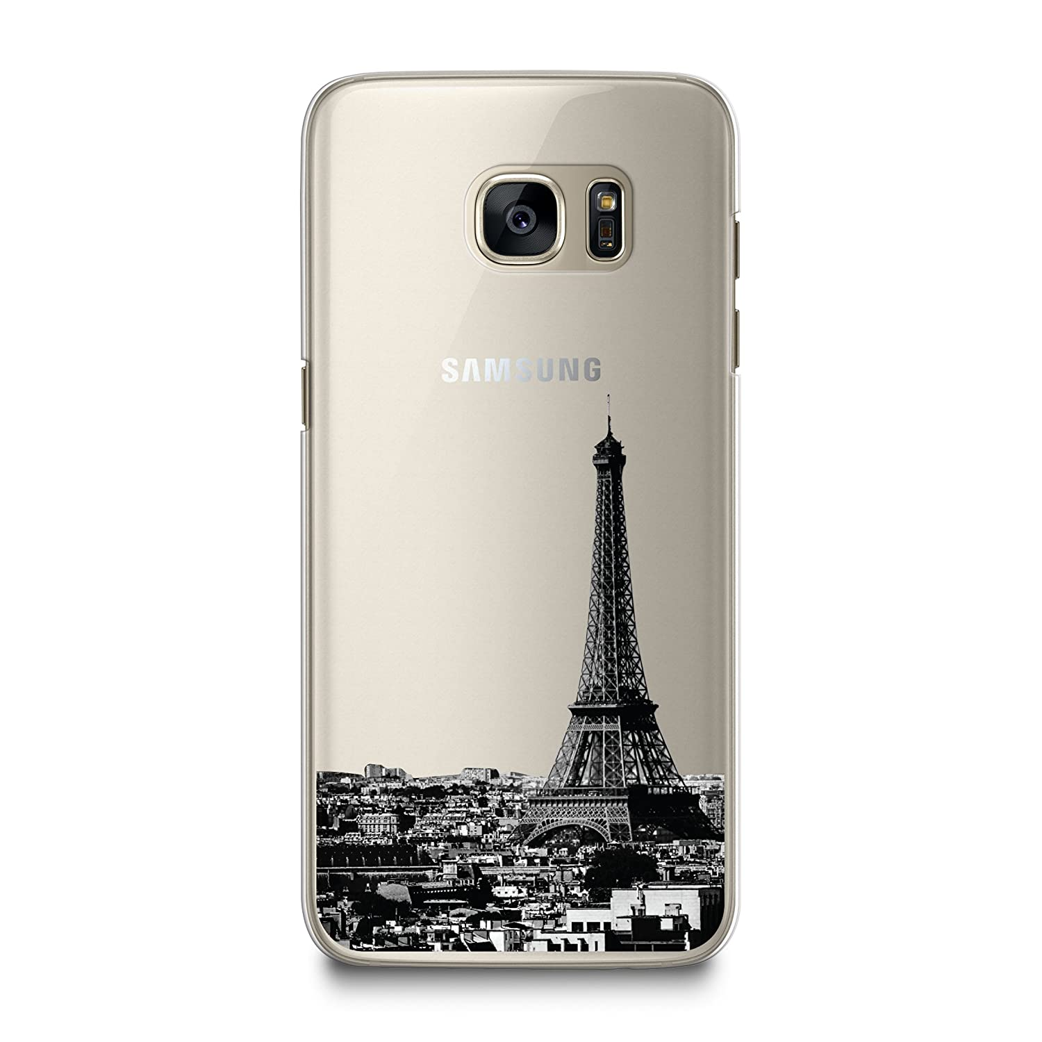 CasesByLorraine Case for Samsung S7, Paris City View Matte Transparent Case Eiffel Tower Clear Plastic Hard Cover for Samsung Galaxy S7 (A15)