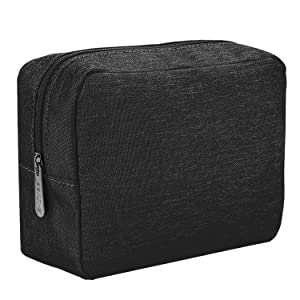 E-Tree 9.8 inch Canvas Zippered Cosmetic Travel Bag, Makeup Carrying Case, Portable Daily Storage, Compliant Bag, Toiletry Carry Pouch Small Organizer, Black