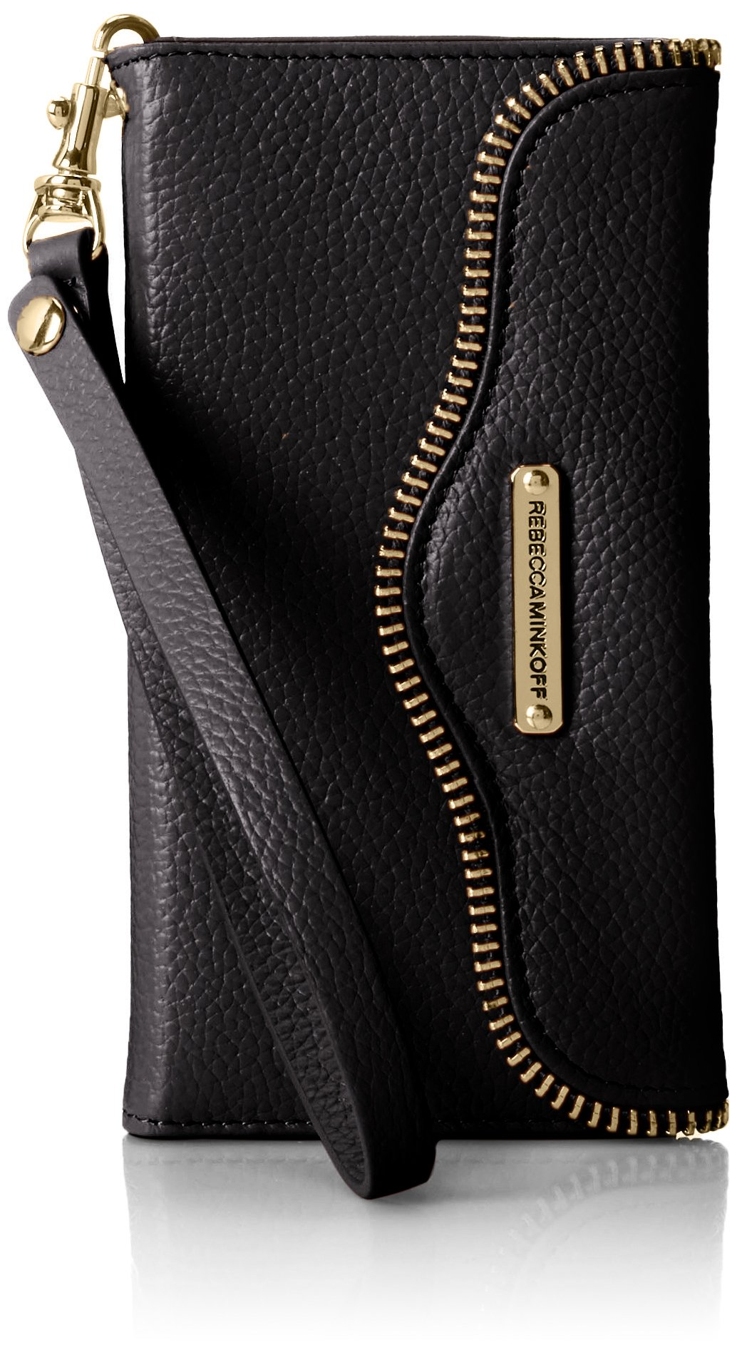 Rebecca Minkoff Iphone 6 Leather Folio Cell Phone Case, Black, One Size