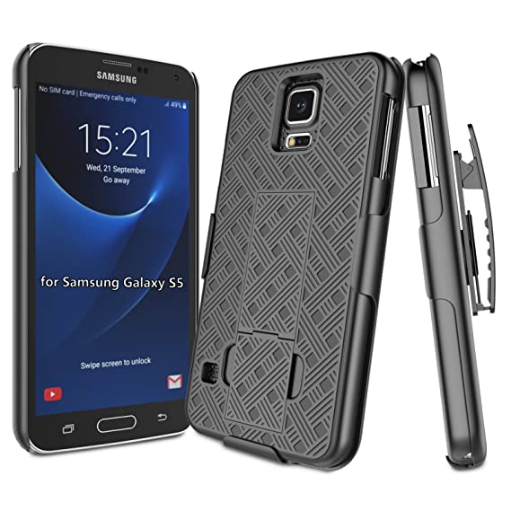 cheap for discount c4320 f06de Galaxy S5 Case, Galaxy S5 Holsters, Samsung Galaxy S5 Belt Clip, Aokit  Black Straw Ultra Slim Hard Defender Shell with Built-in Kickstand and Belt  ...