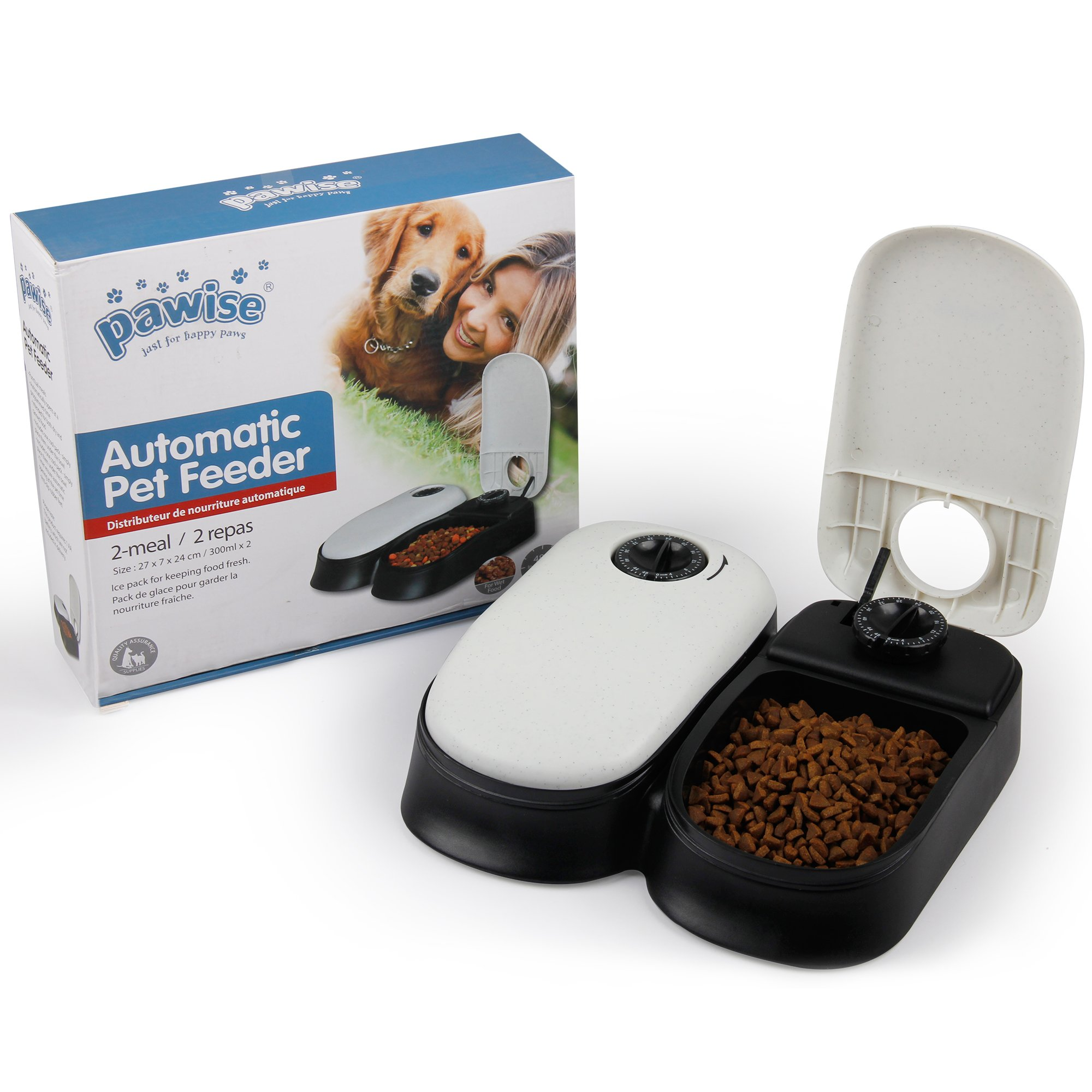 PAWISE Automatic Pet Feeder 2-Meal Food Dispenser Timed Food Bowl for Dogs Cats
