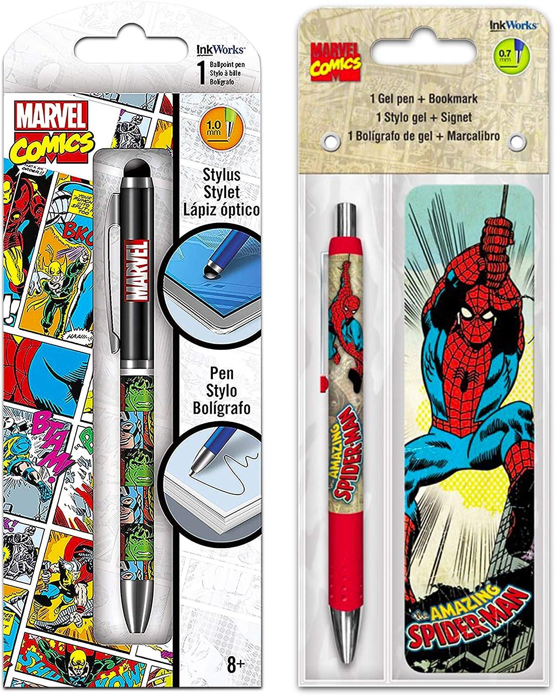 Marvel Comics Superhero Avengers Spiderman Pens 3-Pc Set ~ Premium Marvel Ballpoint Stylus Click Pen and Deluxe Spiderman Pen with Bookmark (Superhero Office Supplies, School Supplies)