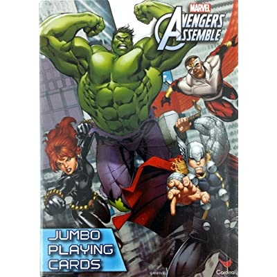 Marvel Comics The Avengers Assemble Jumbo Playing Cards with Instructions for Multiple Games (Crazy 8's, Go Fish, Rummy, Snap & More).: Toys & Games