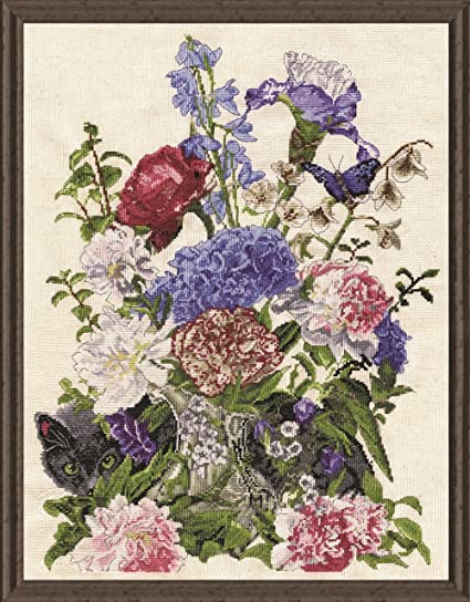 Tobin 2908 14 Count Bouquet with Cat Counted Cross Stitch Kit Multicolor 14 by 19