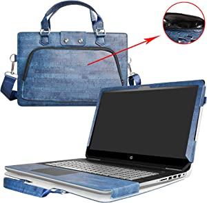 """Pavilion 15 Case,2 in 1 Accurately Designed Protective PU Leather Cover +Portable Carrying Bag for 15.6"""" HP Pavilion 15 15-au000 Series Laptop(Not fit 15-cc000/15-p000/15-b000/15-ab000/15-n000),Blue"""